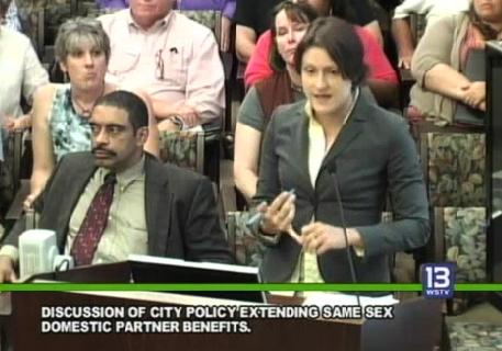 CSE Legal Outreach Coordinator Liz Vennum speaks to WInston-Salem councilmembers about the domestic partner benefits proposal.